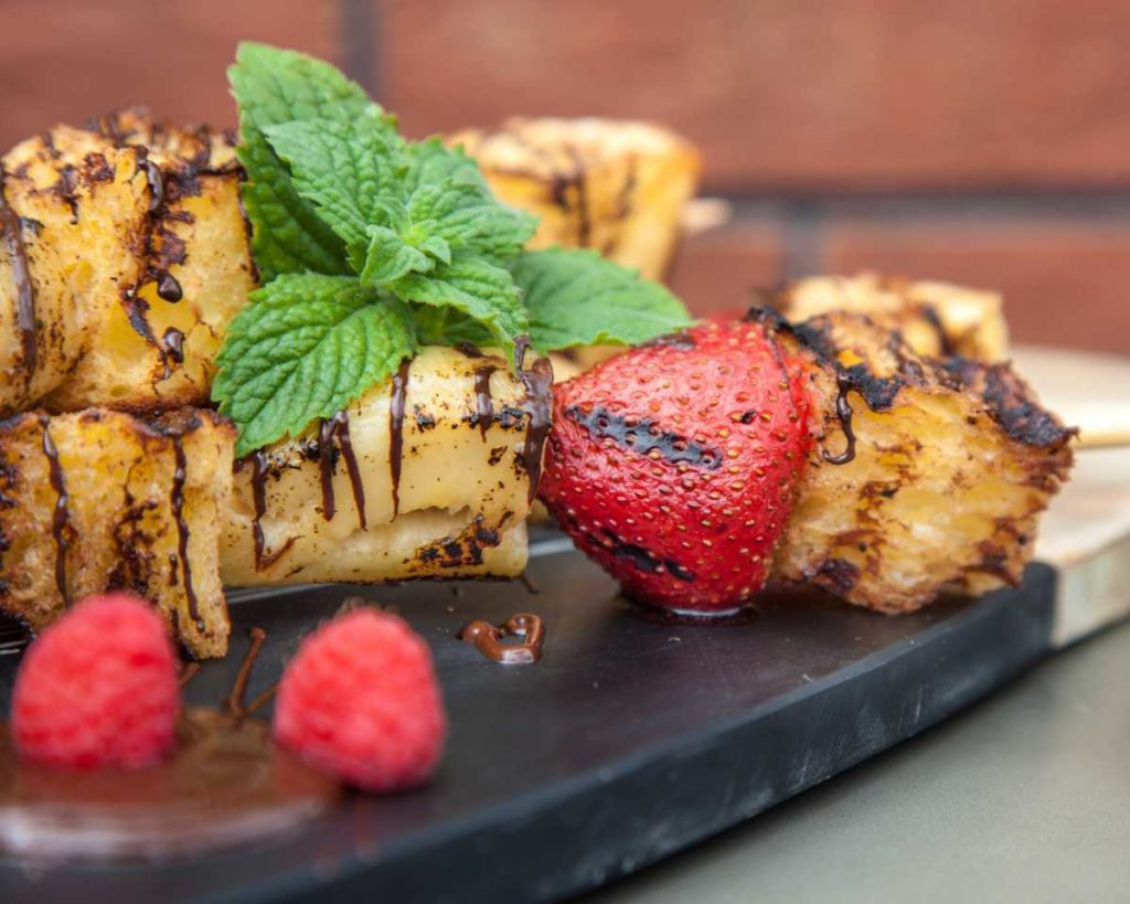 grilled cinnamon toast fruit kebabs