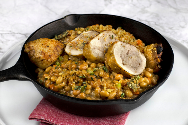 Stuffed Chicken Leg Cassoulet