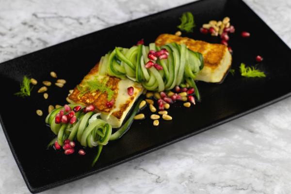 Cucumber Fennel Salad With Halloumi