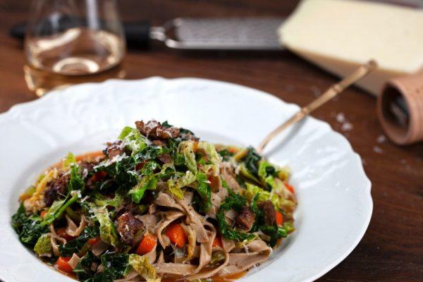 Chestnut Pasta With Pork And Cabbage (Fettuccine Di Castagne Con Verze E Costine)