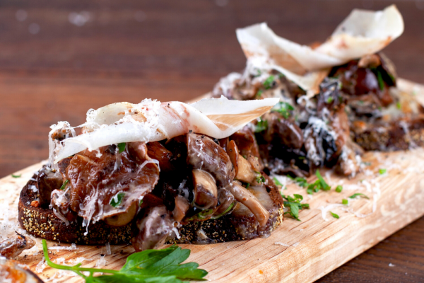 Wild Mushrooms And Lardo On Rye (Crostone Ai Funghi E Lardo)