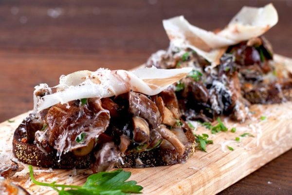 Wild Mushrooms And Lardo On Rye (Crostone Ai Funghi E Lardo)