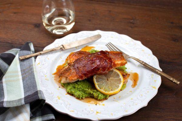 Pancetta-Wrapped Snapper With Pea Mash (Pesce Bianco Nella Pancetta)