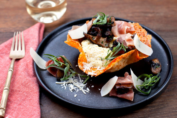 Cheese Crisp Baskets With Polenta And Mushrooms (Cestini Di Frico Con Polenta E Funghi)