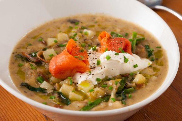 potato leek soup with smoked salmon and creme fraiche