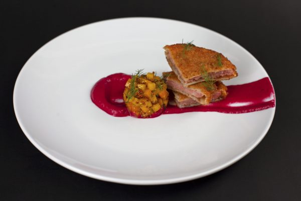 Bratwurst and Pickled Cabbage Schnitzel with Borscht Puree from DNA Dinners