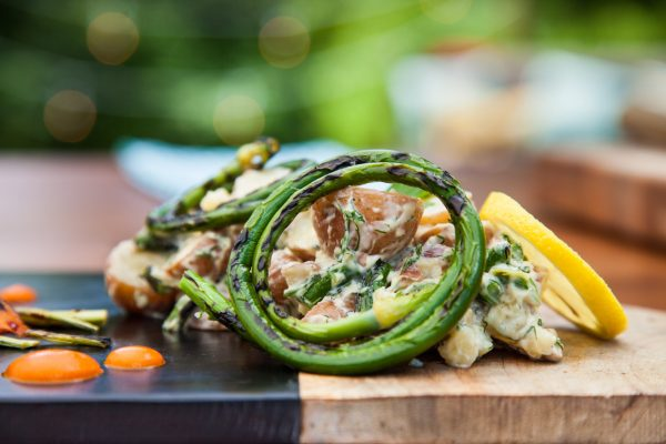 Grilled Garlic Scape Potato Salad from Fresh Market Dinners