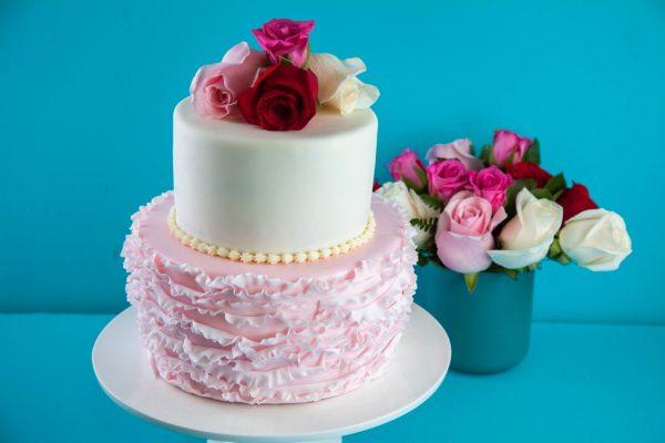 Ruffled Pistachio Rose Wedding Cake from Flour Power