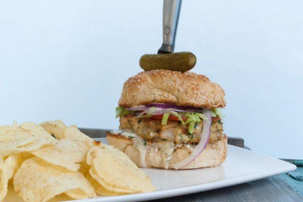  mixed seafood burger