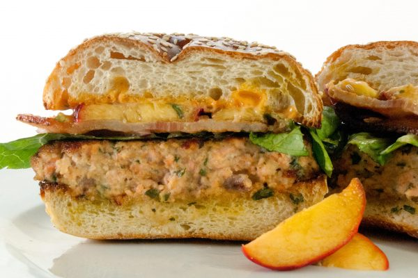 FTD_2025_Salmon Burger with Pickled Peaches and Spicy Lime Aioli_horizontal_ver 1