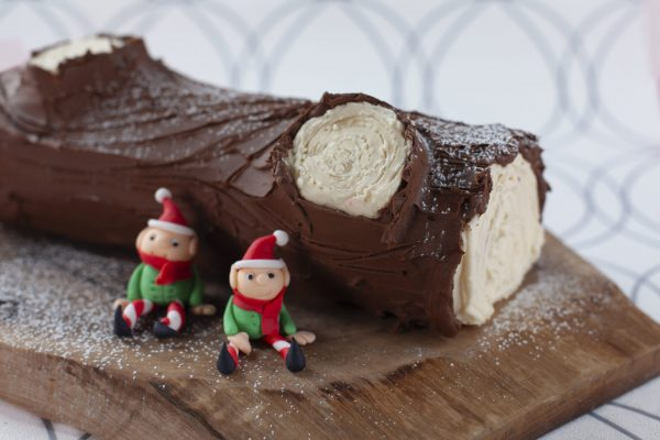 Chocolate Salted Caramel Yule Log from Flour Power Christmas: Big Wow Desserts