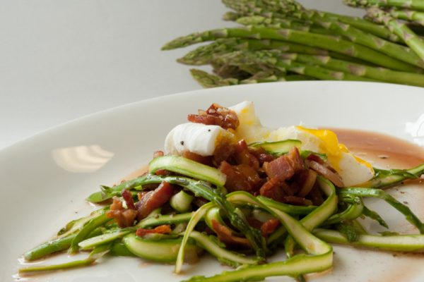 |Asparagus salad with pancetta and poached egg