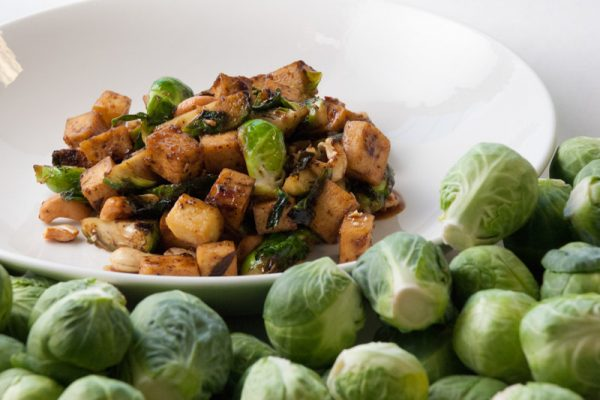 |Brussels sprouts with tofu and black beans|