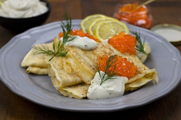 Russian Crepes with Red Caviar