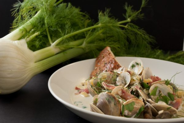 |Fennel with serrano ham and clams