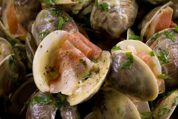 Grilled Clams in Shell with Serrano Ham from Road Grill