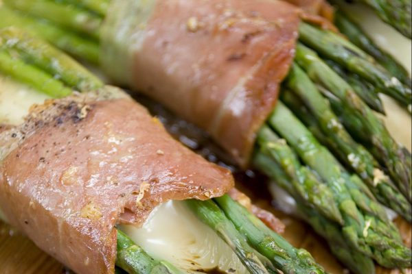 Planked Asparagus Bundles with Cheese and Prosciutto from Road Grill
