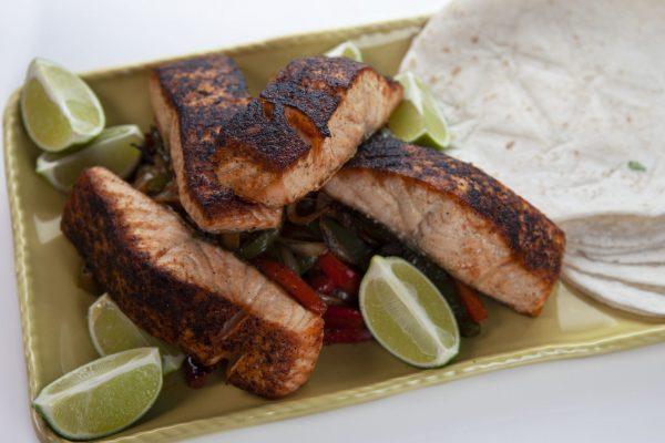 Blackened Salmon Fajitas from Spencer's BIG 30