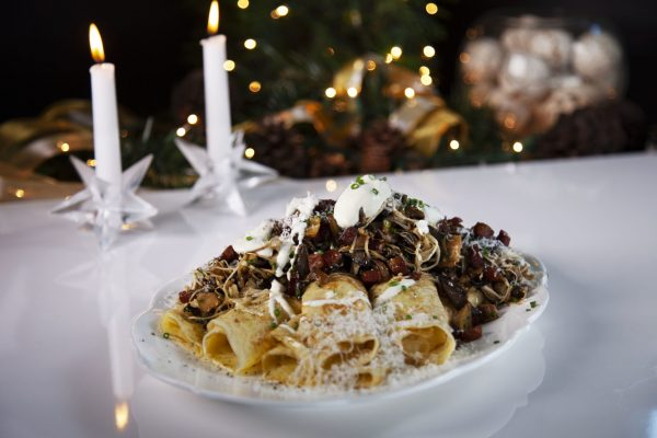 Crepes with Wild Mushrooms and Pancetta from Spencer's BIG Holiday