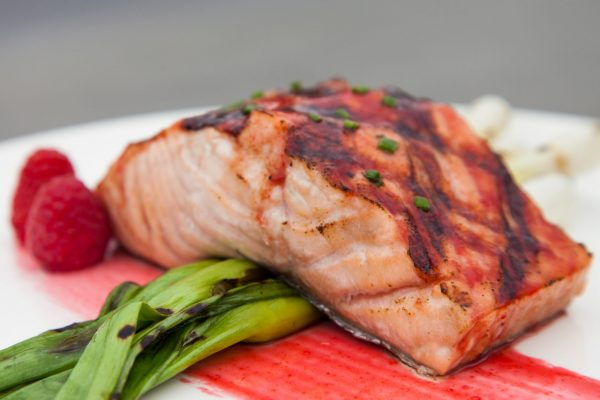 Grilled Salmon with Raspberry Glaze from Watts on the Grill