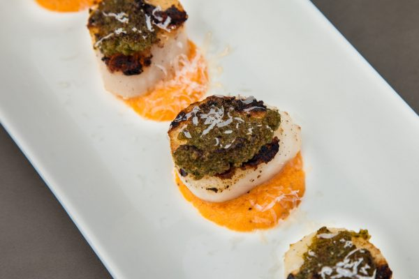 Grilled Scallops with Pecorino Crust from Watts on the Grill