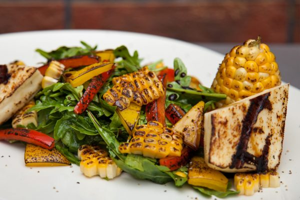 Arugula Salad with Grilled Corn and Halloumi from Watts on the Grill