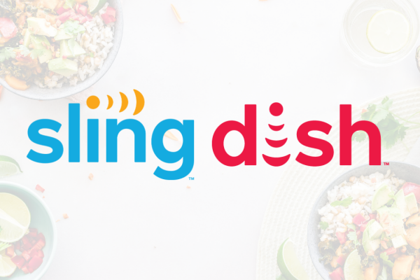 sling dish logos with food in background
